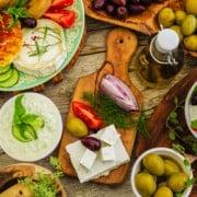 Greek cuisine dishes - Greek salad, choriatiki,  tzatziki